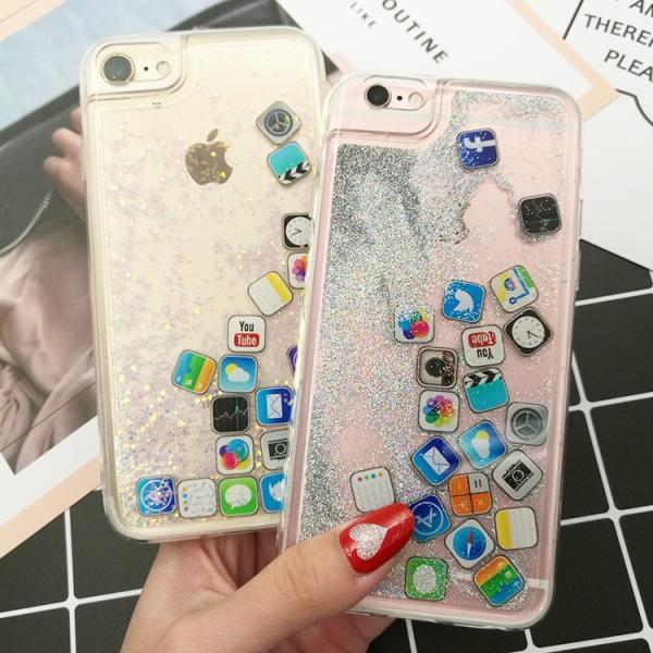 ★新年セール★iPhone8  iPhone7 流れアプリ おしゃれ レア iPhoneX iPhone8Plus iPhone7Plus  iPhone6sケース ラメ 流れるアプリ 液体レア キラキラ