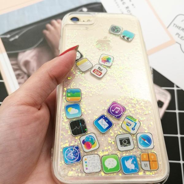 ★サマーセール★iPhone8  iPhone7 流れアプリ おしゃれ レア iPhoneX iPhone8Plus iPhone7Plus  iPhone6sケース ラメ 流れるアプリ 液体レア キラキラ|zikanbarai|07