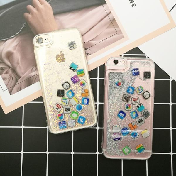 ★サマーセール★iPhone8  iPhone7 流れアプリ おしゃれ レア iPhoneX iPhone8Plus iPhone7Plus  iPhone6sケース ラメ 流れるアプリ 液体レア キラキラ|zikanbarai|08