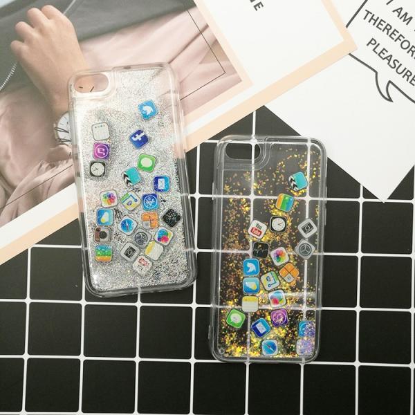 ★サマーセール★iPhone8  iPhone7 流れアプリ おしゃれ レア iPhoneX iPhone8Plus iPhone7Plus  iPhone6sケース ラメ 流れるアプリ 液体レア キラキラ|zikanbarai|09