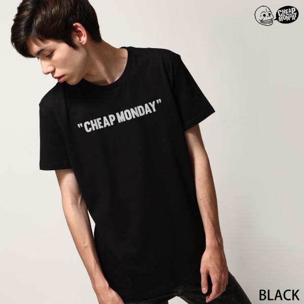 Tシャツ メンズ カットソー 半袖 クルーネック ロゴ プリント レッド ブラック CHEAP MONDAY ファッション (0634791)|zip