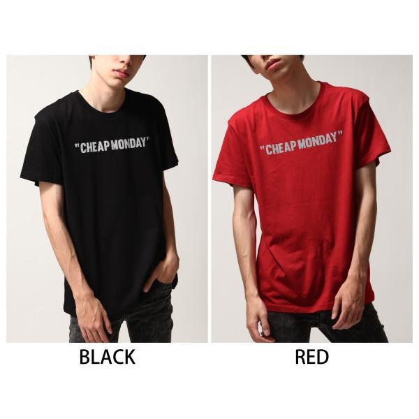 Tシャツ メンズ カットソー 半袖 クルーネック ロゴ プリント レッド ブラック CHEAP MONDAY ファッション (0634791)|zip|02