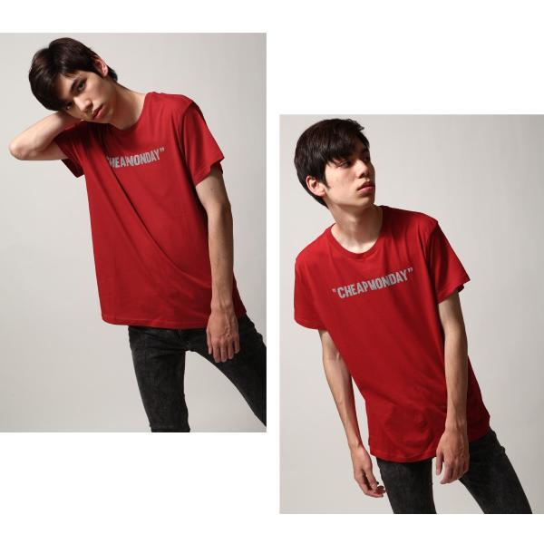 Tシャツ メンズ カットソー 半袖 クルーネック ロゴ プリント レッド ブラック CHEAP MONDAY ファッション (0634791)|zip|06