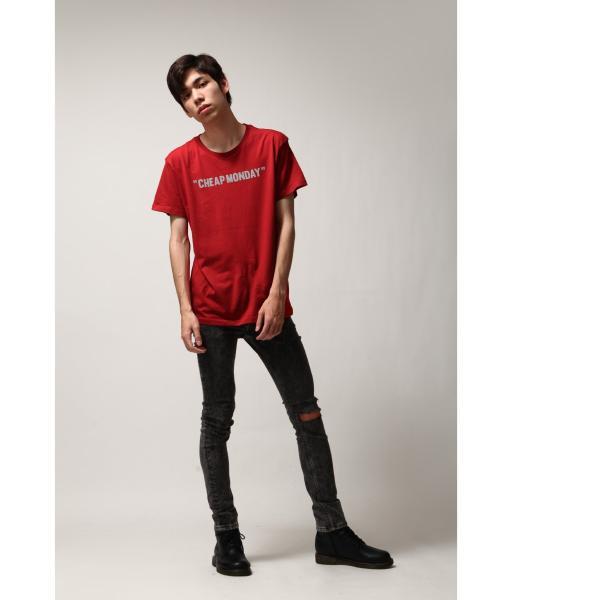 Tシャツ メンズ カットソー 半袖 クルーネック ロゴ プリント レッド ブラック CHEAP MONDAY ファッション (0634791)|zip|07