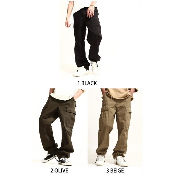 カーゴパンツ メンズ パンツ ワークパンツ ワイド ゆったり 綿リップ 無地 おしゃれ ファッション ポイント消化 (131930br)|zip|02