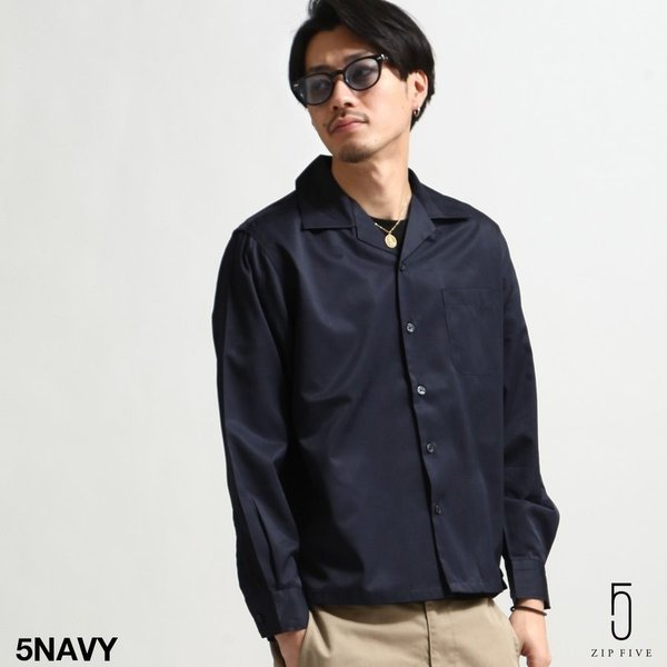 シャツ メンズ オープンカラーシャツ 開襟シャツ パジャマシャツ 長袖 カジュアルシャツ 無地 ストライプ ファッション (151912br)|zip