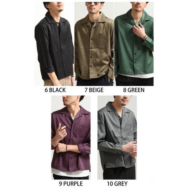 シャツ メンズ オープンカラーシャツ 開襟シャツ パジャマシャツ 長袖 カジュアルシャツ 無地 ストライプ ファッション (151912br)|zip|03