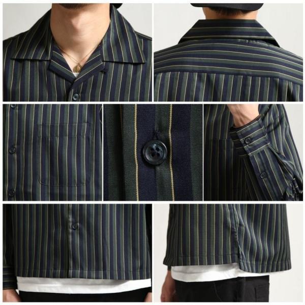 シャツ メンズ オープンカラーシャツ 開襟シャツ パジャマシャツ 長袖 カジュアルシャツ 無地 ストライプ ファッション (151912br)|zip|04