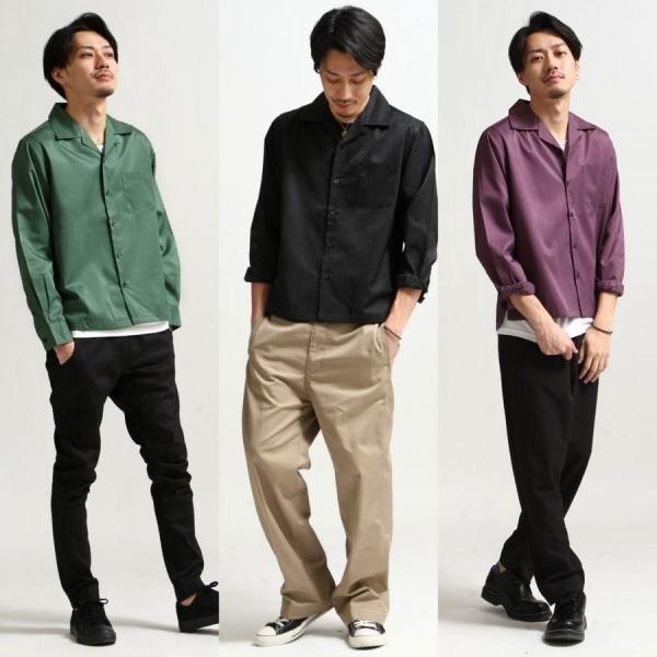 シャツ メンズ オープンカラーシャツ 開襟シャツ パジャマシャツ 長袖 カジュアルシャツ 無地 ストライプ ファッション (151912br)|zip|06