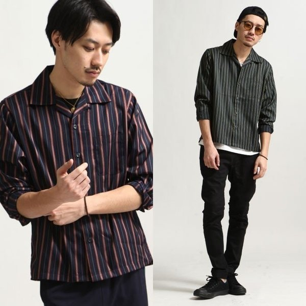 シャツ メンズ オープンカラーシャツ 開襟シャツ パジャマシャツ 長袖 カジュアルシャツ 無地 ストライプ ファッション (151912br)|zip|08