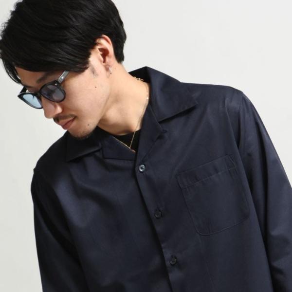 シャツ メンズ オープンカラーシャツ 開襟シャツ パジャマシャツ 長袖 カジュアルシャツ 無地 ストライプ ファッション (151912br)|zip|09