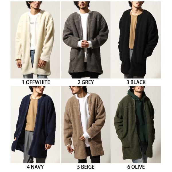コート メンズ ボア ボアコート ロングコート ロング丈 無地 ノーカラー ブルゾン ファッション (161948br)|zip|02