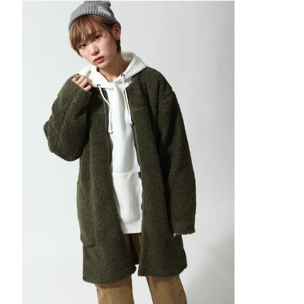 コート メンズ ボア ボアコート ロングコート ロング丈 無地 ノーカラー ブルゾン ファッション (161948br)|zip|10