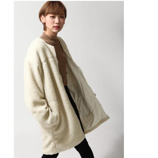 コート メンズ ボア ボアコート ロングコート ロング丈 無地 ノーカラー ブルゾン ファッション (161948br)|zip|12
