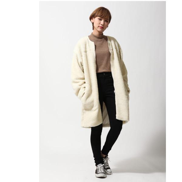 コート メンズ ボア ボアコート ロングコート ロング丈 無地 ノーカラー ブルゾン ファッション (161948br)|zip|13