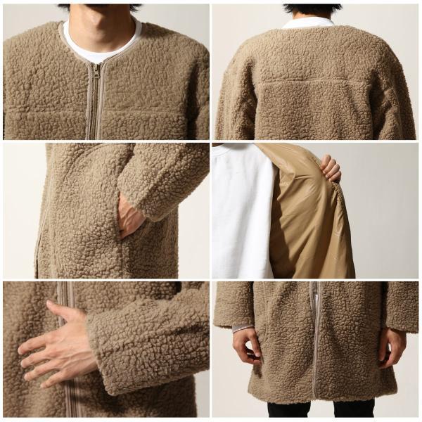 コート メンズ ボア ボアコート ロングコート ロング丈 無地 ノーカラー ブルゾン ファッション (161948br)|zip|03