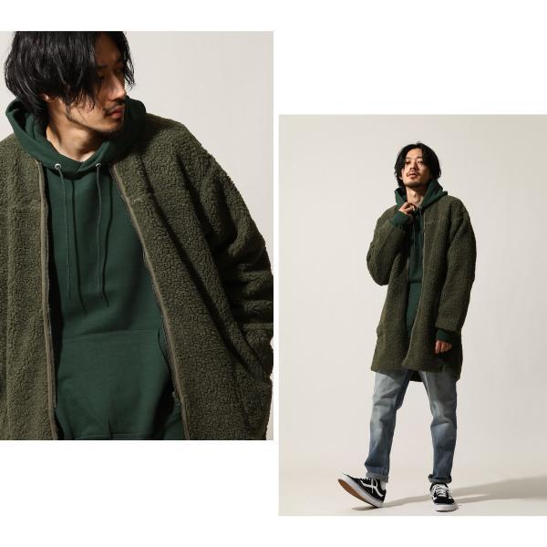 コート メンズ ボア ボアコート ロングコート ロング丈 無地 ノーカラー ブルゾン ファッション (161948br)|zip|06