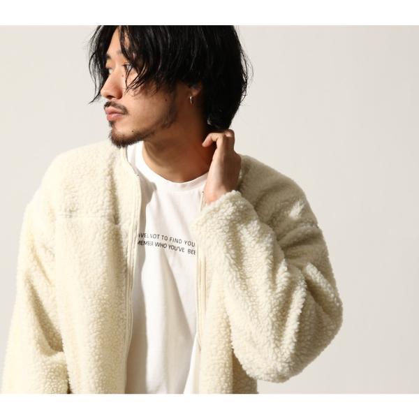 コート メンズ ボア ボアコート ロングコート ロング丈 無地 ノーカラー ブルゾン ファッション (161948br)|zip|07