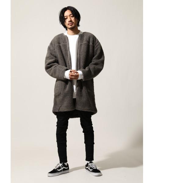 コート メンズ ボア ボアコート ロングコート ロング丈 無地 ノーカラー ブルゾン ファッション (161948br)|zip|08
