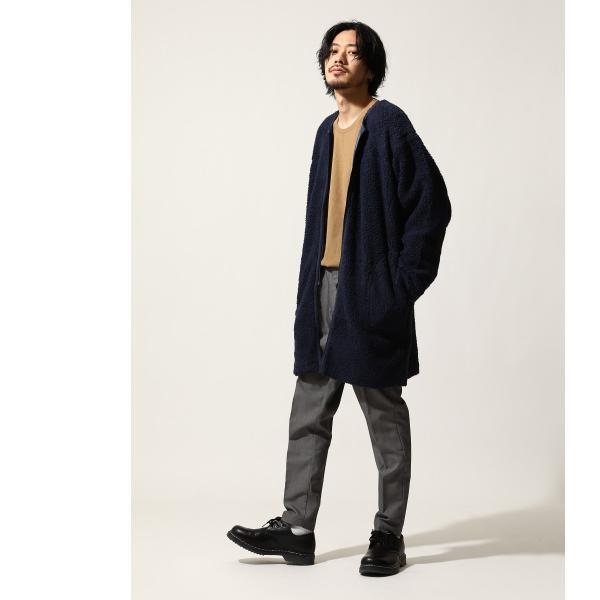 コート メンズ ボア ボアコート ロングコート ロング丈 無地 ノーカラー ブルゾン ファッション (161948br)|zip|09