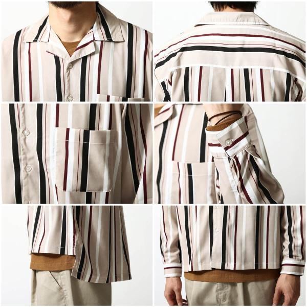 シャツ メンズ オープンカラーシャツ 開襟シャツ カジュアルシャツ 長袖 無地 ストライプ チェック 総柄 ファッション ポイント消化 (17110) D 2bh|zip|05