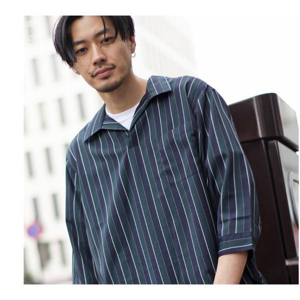 シャツ メンズ カジュアルシャツ スキッパーシャツ オープンカラー 開襟シャツ 七分袖 半端丈 無地 ストライプ ファッション ポイント消化 (171902bz) D|zip|11