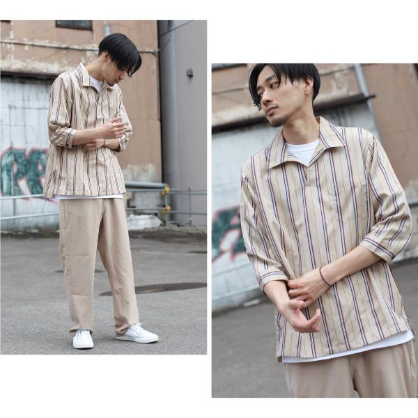 シャツ メンズ カジュアルシャツ スキッパーシャツ オープンカラー 開襟シャツ 七分袖 半端丈 無地 ストライプ ファッション ポイント消化 (171902bz) D|zip|13