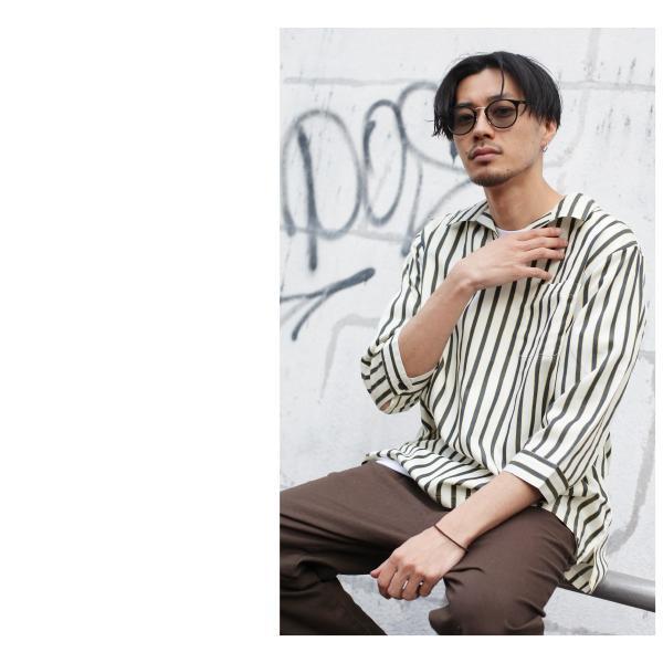 シャツ メンズ カジュアルシャツ スキッパーシャツ オープンカラー 開襟シャツ 七分袖 半端丈 無地 ストライプ ファッション ポイント消化 (171902bz) D|zip|14