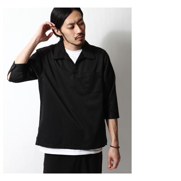 シャツ メンズ カジュアルシャツ スキッパーシャツ オープンカラー 開襟シャツ 七分袖 半端丈 無地 ストライプ ファッション ポイント消化 (171902bz) D|zip|15