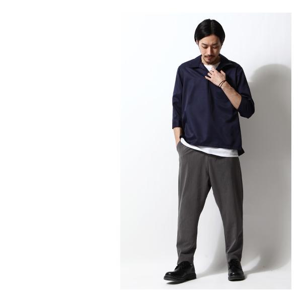 シャツ メンズ カジュアルシャツ スキッパーシャツ オープンカラー 開襟シャツ 七分袖 半端丈 無地 ストライプ ファッション ポイント消化 (171902bz) D|zip|16
