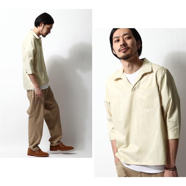 シャツ メンズ カジュアルシャツ スキッパーシャツ オープンカラー 開襟シャツ 七分袖 半端丈 無地 ストライプ ファッション ポイント消化 (171902bz) D|zip|17