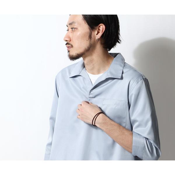 シャツ メンズ カジュアルシャツ スキッパーシャツ オープンカラー 開襟シャツ 七分袖 半端丈 無地 ストライプ ファッション ポイント消化 (171902bz) D|zip|18