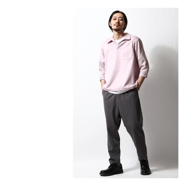 シャツ メンズ カジュアルシャツ スキッパーシャツ オープンカラー 開襟シャツ 七分袖 半端丈 無地 ストライプ ファッション ポイント消化 (171902bz) D|zip|19