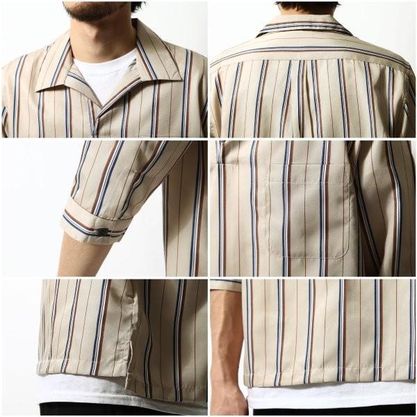 シャツ メンズ カジュアルシャツ スキッパーシャツ オープンカラー 開襟シャツ 七分袖 半端丈 無地 ストライプ ファッション ポイント消化 (171902bz) D|zip|20
