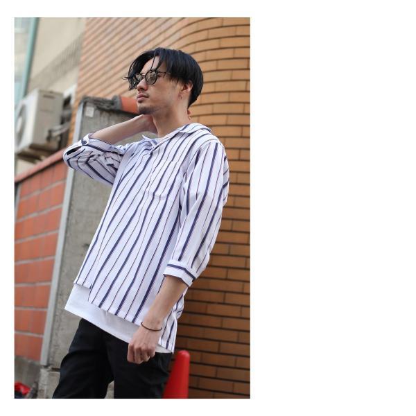 シャツ メンズ カジュアルシャツ スキッパーシャツ オープンカラー 開襟シャツ 七分袖 半端丈 無地 ストライプ ファッション ポイント消化 (171902bz) D|zip|07
