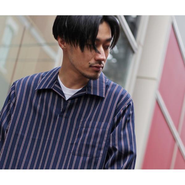 シャツ メンズ カジュアルシャツ スキッパーシャツ オープンカラー 開襟シャツ 七分袖 半端丈 無地 ストライプ ファッション ポイント消化 (171902bz) D|zip|08