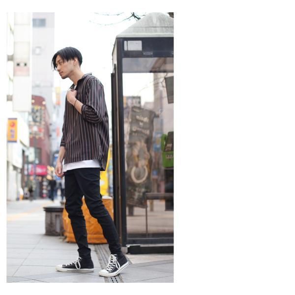 シャツ メンズ カジュアルシャツ スキッパーシャツ オープンカラー 開襟シャツ 七分袖 半端丈 無地 ストライプ ファッション ポイント消化 (171902bz) D|zip|10