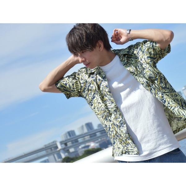 シャツ メンズ カジュアルシャツ オープンカラーシャツ 開襟シャツ アロハシャツ 半袖 レーヨン 総柄 ファッション 夏 涼しい ポイント消化 (171913bz)|zip|13