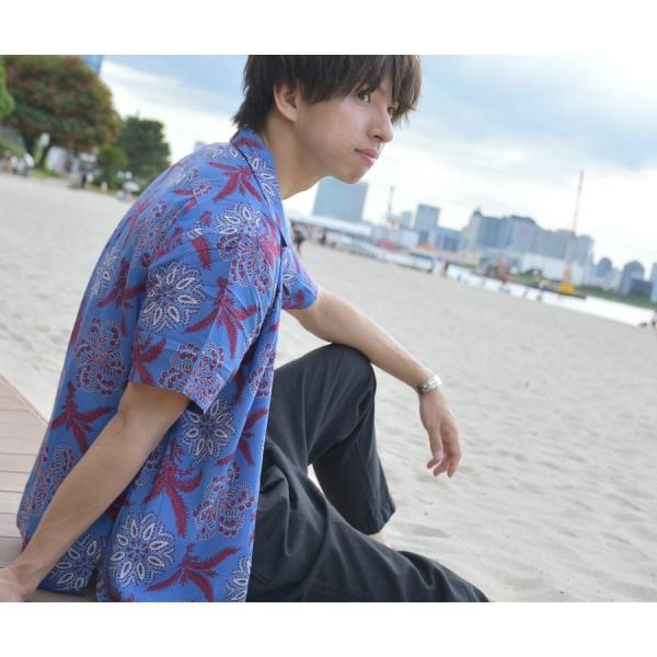 シャツ メンズ カジュアルシャツ オープンカラーシャツ 開襟シャツ アロハシャツ 半袖 レーヨン 総柄 ファッション 夏 涼しい ポイント消化 (171913bz)|zip|14