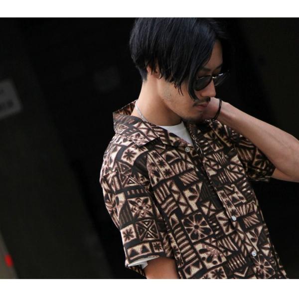 シャツ メンズ カジュアルシャツ オープンカラーシャツ 開襟シャツ アロハシャツ 半袖 レーヨン 総柄 ファッション 夏 涼しい ポイント消化 (171913bz)|zip|17