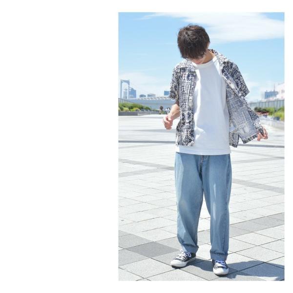 シャツ メンズ カジュアルシャツ オープンカラーシャツ 開襟シャツ アロハシャツ 半袖 レーヨン 総柄 ファッション 夏 涼しい ポイント消化 (171913bz)|zip|09