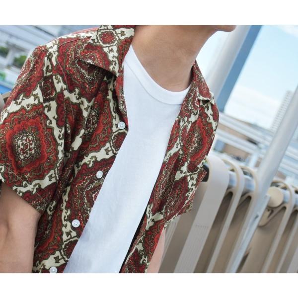 シャツ メンズ カジュアルシャツ オープンカラーシャツ 開襟シャツ アロハシャツ 半袖 レーヨン 総柄 ファッション 夏 涼しい ポイント消化 (171913bz)|zip|10