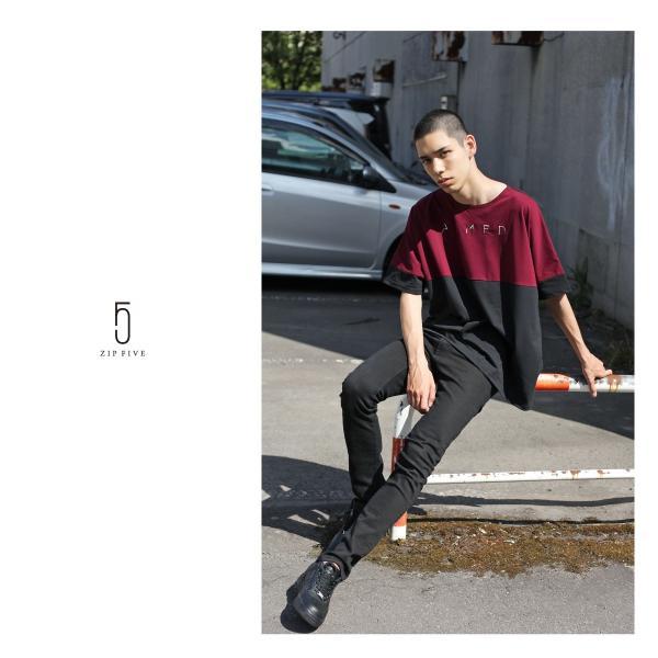 Tシャツ メンズ カットソー 長袖 切替 ロゴ刺繍 ロゴ ビッグシルエット オーバーサイズ 鹿の子 ワンポイント ファッション ポイント消化 (171928bz)|zip|13
