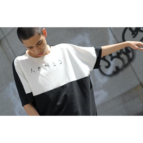 Tシャツ メンズ カットソー 長袖 切替 ロゴ刺繍 ロゴ ビッグシルエット オーバーサイズ 鹿の子 ワンポイント ファッション ポイント消化 (171928bz)|zip|09