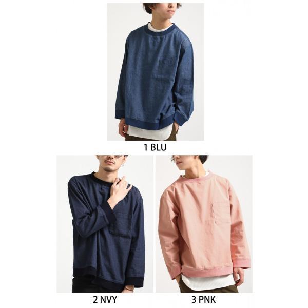 プルオーバー メンズ Tee シャツ Tシャツ カットソー 長袖 クルーネック ビッグシルエット オーバーサイズ デニム ツイル ファッション (18-2102)|zip|02