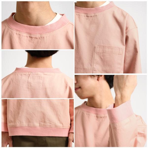 プルオーバー メンズ Tee シャツ Tシャツ カットソー 長袖 クルーネック ビッグシルエット オーバーサイズ デニム ツイル ファッション (18-2102)|zip|03
