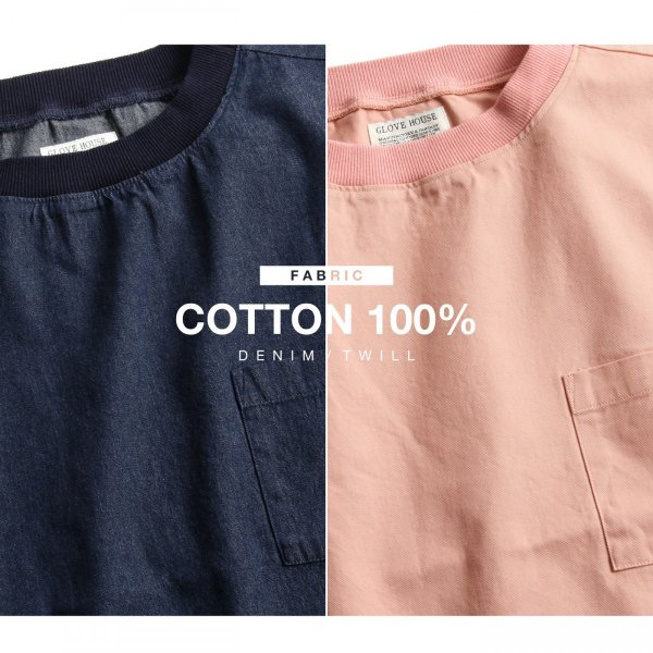 プルオーバー メンズ Tee シャツ Tシャツ カットソー 長袖 クルーネック ビッグシルエット オーバーサイズ デニム ツイル ファッション (18-2102)|zip|05