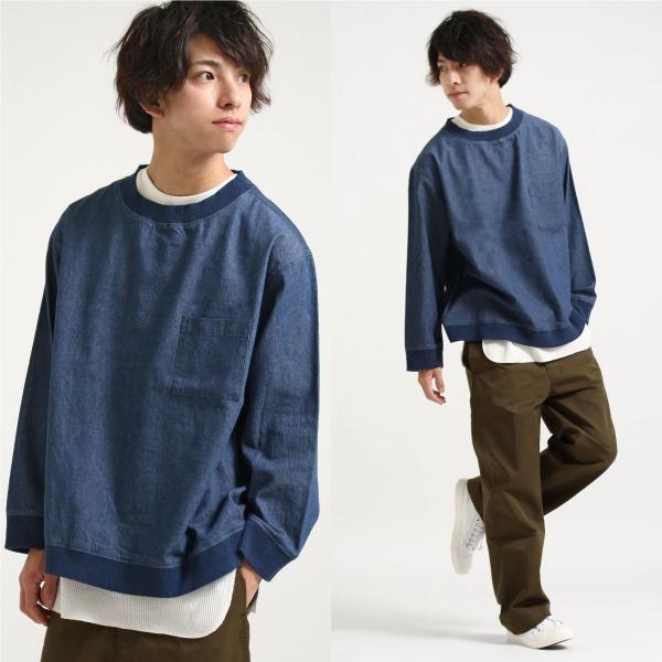 プルオーバー メンズ Tee シャツ Tシャツ カットソー 長袖 クルーネック ビッグシルエット オーバーサイズ デニム ツイル ファッション (18-2102)|zip|06