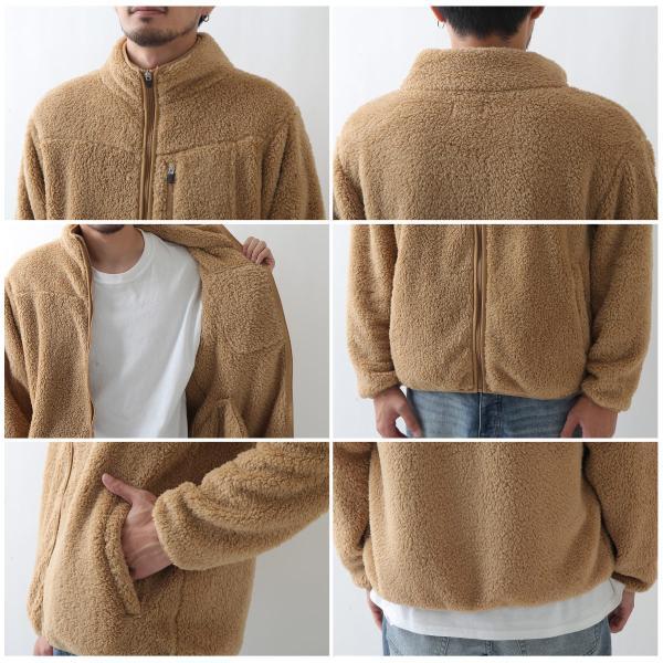 ブルゾン メンズ ボア フリース ジャケット アウター ボアジャケット スタンドネック ふわふわ もこもこ ジャンパー ファッション (181909bz) D 2bh|zip|04