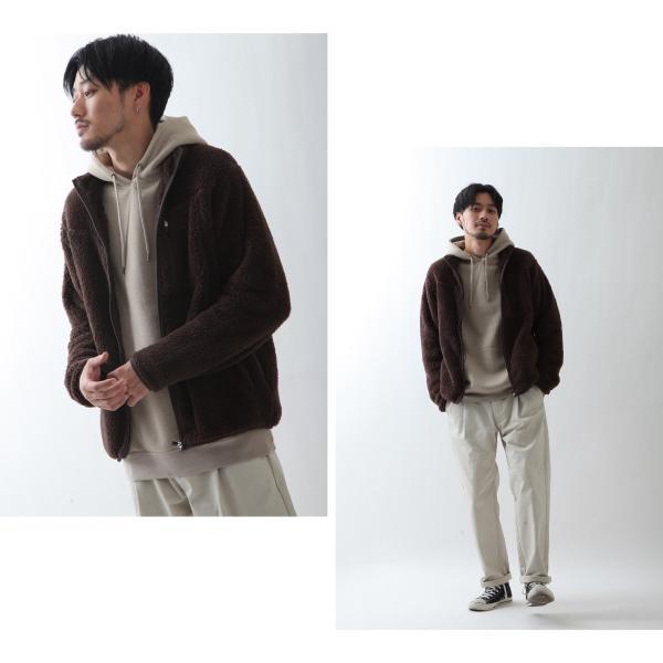 ブルゾン メンズ ボア フリース ジャケット アウター ボアジャケット スタンドネック ふわふわ もこもこ ジャンパー ファッション (181909bz) D 2bh|zip|10
